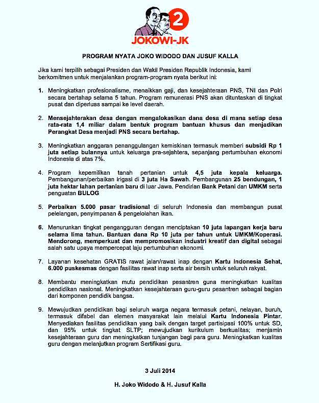 beberapa Janji Jokowi-JK yang mesti ditindaklanjuti